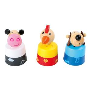 Display 12 pezzi animali in legno con versi sonori gioco bambini