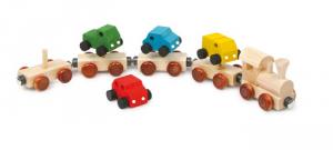 Autotreno in legno con calamite con 9 pezzi giocattolo bambini