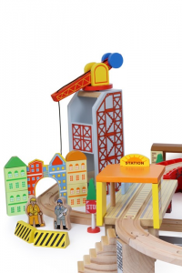 Pista giocattolo trenino porto in legno con accessori