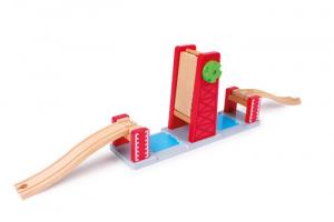 Pontile levatoio accessorio per pista ferroviaria in legno