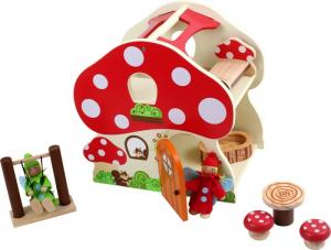 Casa delle bambole forma di fungo in legno con accessori