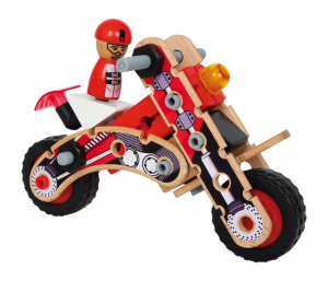 Set da costruzioni in legno 2 in 1 Moto e Drag Racer giocattolo bambini