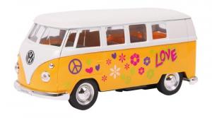 Modellino auto VolkWagen 62 Peace & Love Bus porte apribili e molla richiamo