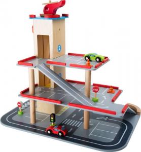 Gioco parcheggio per bambini in legno con ascensore e accessori