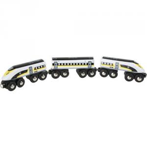 Treno in legno ad alta velocità con vagoni