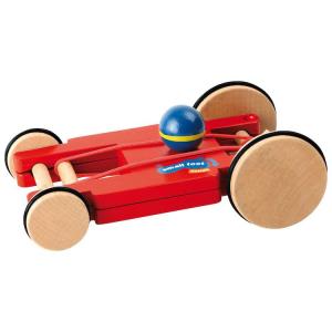 Auto Macchinina con carica a molla in legno colore rosso