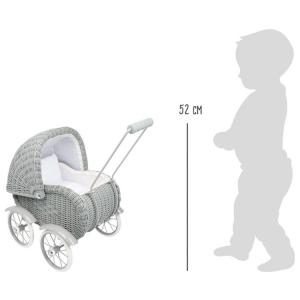 Carrozzina passeggino giocattolo per bambole in vimini Grigio