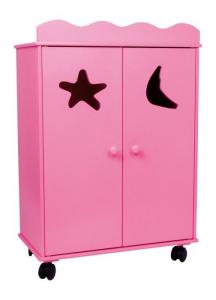 Armadio rosa per bambole in legno con rotelle