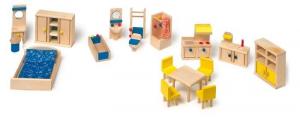 mobili per casa/casetta con cucina bambole in legno