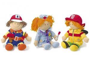 Bambole stoffa infermiera pompiere artigiano Set da 3