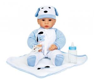 Bambolotto bambola Benno con ciuccio e tutina azzurra gioco bambine