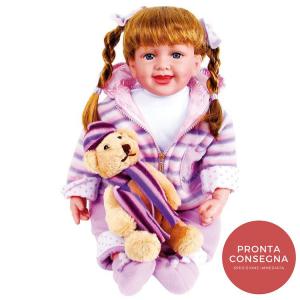 Bambola Giocattolo Jasmin con vestiti e orsetto Gioco Bambina