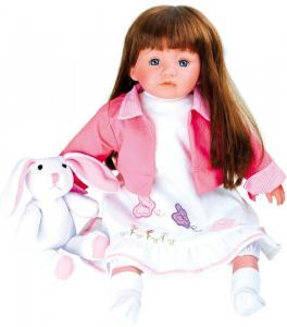 Bambola con coniglietto con vestiti elaborati a mano