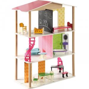 Casa delle bambole in legno con accessori Gioco per bambine