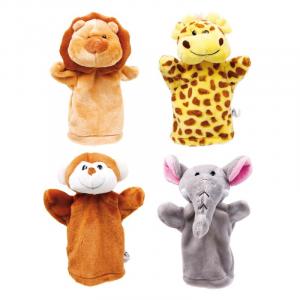 Burattini giocattolo bambini Animali dello zoo Set da 4