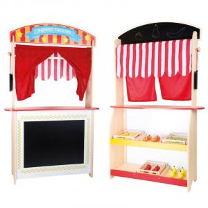 Bancarella e teatrino dei burattini in legno gioco per bambini