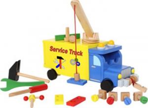 Camion Service Truck con attrezzi in legno gioco bambini