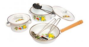 Batteria di pentole da cucina in acciaio inox gioco per bambini