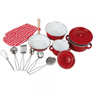 Batteria da cucina rossa con utensili in metallo gioco per bambini 13 pezzi