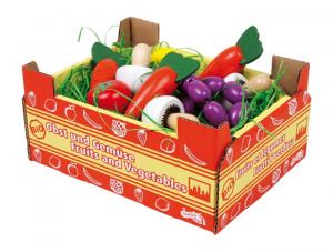 Cassetta con verdura in legno gioco per bambini complemento bancarella