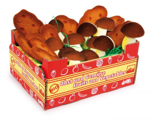 Cassetta con patate e funghi gioco mercato bancarella per bambini