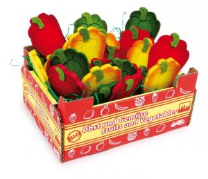 Cassetta con peperoni misti gioco mercato bancarella per bambini