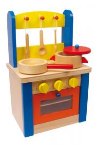 Cucina giocattolo con accessori in legno per bambini