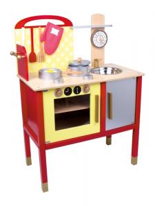 Cucina in legno con orologio ed accessori vari giocattolo per bambini