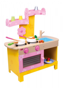 Cucina colorata in legno giocattolo per bambine con accessori e piano cottura