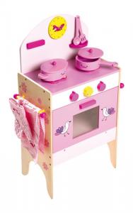 Fornello da cucina con accessori in legno giocattolo per bambini