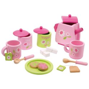 Servizio da tè Rosa in legno gioco per bambine