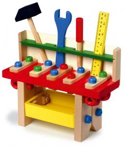 Banco-tavolo da lavoro professionale con utensili in legno gioco per bambini