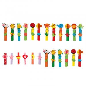 Mollette colorate in legno con applicazioni set da 24 pezzi