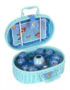 Valigetta-cestino Picnic Blu con vassoio teiera e tazzine giocattolo per bambini