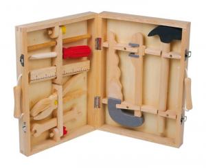 Valigetta attrezzi con 8 utensili in legno giocattolo per bambino