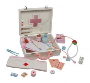Kit dottore pronto soccorso con valigetta in legno giocattolo per bambini