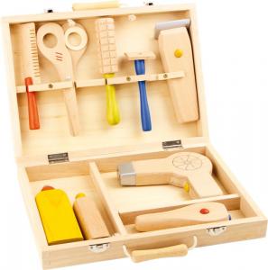 Valigetta con accessori in legno naturale per piccoli parrucchieri gioco per bambini