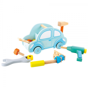 Cassetta degli attrezzi in legno giocatoolo per bambini con accessori forma Automobile