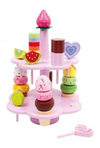 Set di dolci in legno con espositore gioco cucina per Bambini