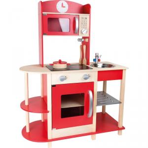 Cucina in legno rossa con accessori Buongustaio Gioco per bambini