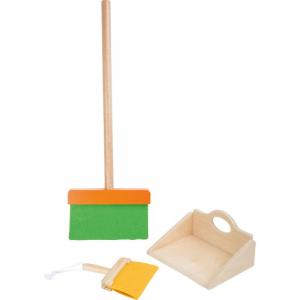 Set scopa e paletta giocattolo in legno per bambini