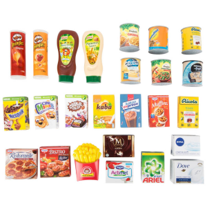 Mix Alimentari di marca accessori gioco cucina o bancarella per Bambini