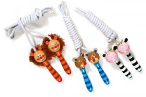 Corda per saltare con manici di legno colorati animali Set da 3