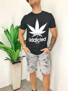 T-shirt uomo in puro cotone elasticizzato con stampa marijuana TG S/M/L/XL