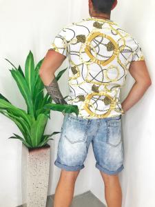 Bermuda uomo in jeans elasticizzato lavaggio chiara con lievi strappi TG 44/46/48/50/52