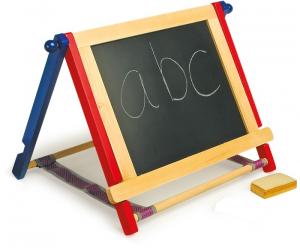 Doppia lavagnetta da scrivania con gessi e spugnetta e pannello scrivibile con pennarelli