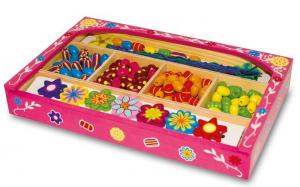Gioielli da infilare con portagioie in legno gioco bambine