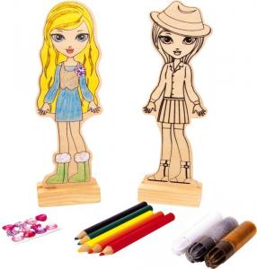 Bambola in legno da colorare con pennarelli ed applicazioni