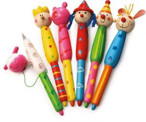 Penna a sfera colorata Teste di legno Set da 6 Legler 5214
