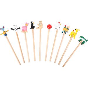Set 10 Matite in legno con applicazione Animali